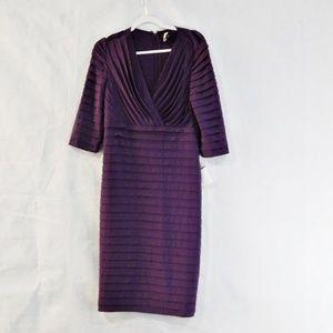 Adrianna Papell Purple Half Sleeve Pleated Dress